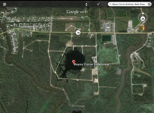 Bayou Corne sinkhole map