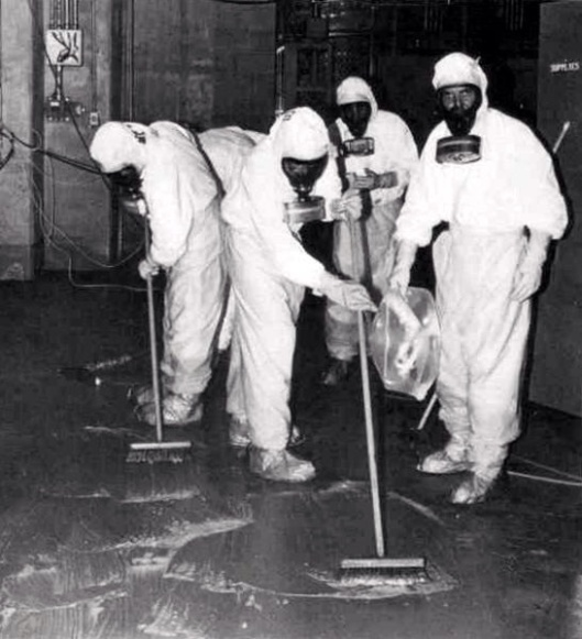 A clean-up crew working to remove radioactive contamination after the Three Mile Island accident