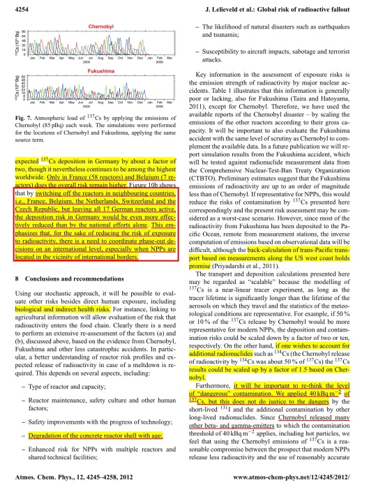 """Global risk of radioactive fallout after major nuclear reactor accidents"" Atmos. Chem. Phys., 12, 4245–4258, 2012 www.atmos-chem-phys.net/12/4245/2012/ CC Attribution 3.0, By J. Lelieveld1,2, D. Kunkel1, and M. G. Lawrence1, 1Max Planck Institute for Chemistry, Mainz, Germany 2The Cyprus Institute, Nicosia, Cyprus , p. 10"