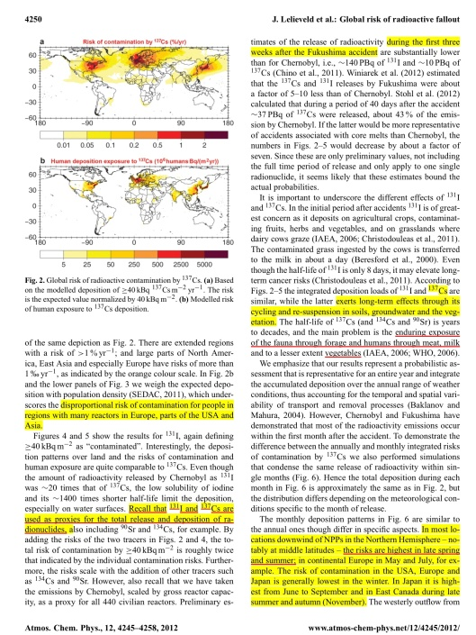 """Global risk of radioactive fallout after major nuclear reactor accidents"" Atmos. Chem. Phys., 12, 4245–4258, 2012 www.atmos-chem-phys.net/12/4245/2012/ CC Attribution 3.0, By J. Lelieveld1,2, D. Kunkel1, and M. G. Lawrence1, 1Max Planck Institute for Chemistry, Mainz, Germany 2The Cyprus Institute, Nicosia, Cyprus , p. 6"
