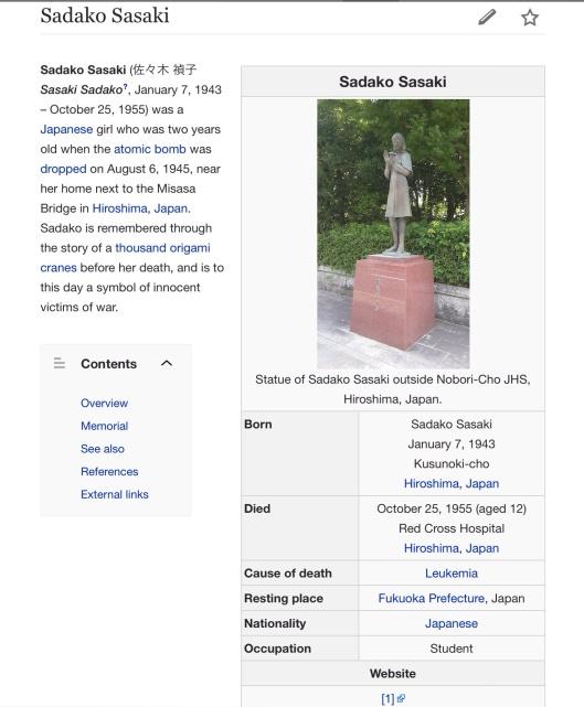 Sadako Sasaki , p. 1 wikipedia