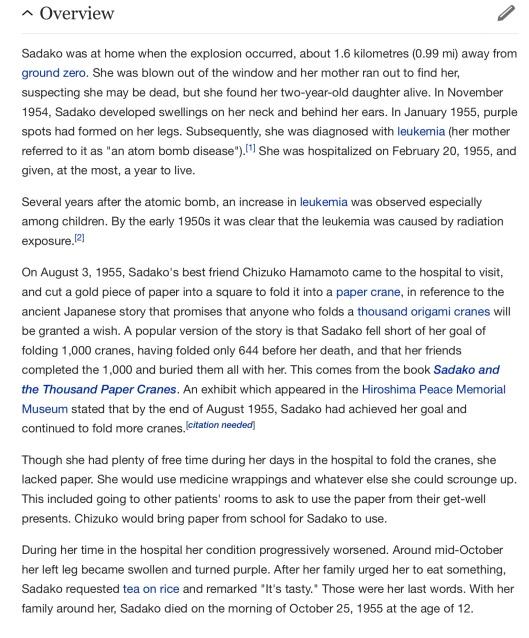 Sadako Sasaki , p. 2 Wikipedia