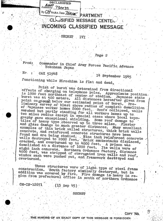 Nagasaki 14 Sept 1945 Declassified, p. 2
