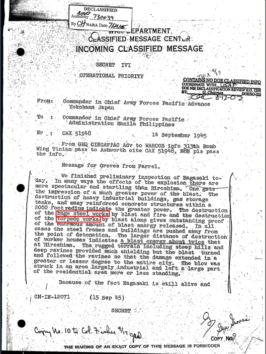 Nagasaki 14 Sept 1945 Declassified, p. 1