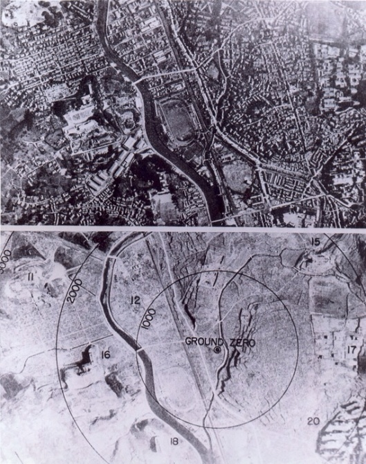 Ground view of Nagasaki before and after the bombing; 1,000 foot circles are shown. (Photo from U.S. National Archives, RG 77-MDH)
