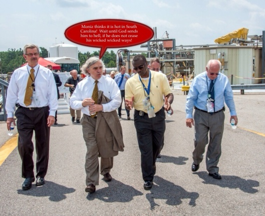 From left, Dr. Terry Michalske, director of EM's Savannah River National Laboratory and executive vice president of Savannah River Nuclear Solutions, Energy Secretary Ernest Moniz, Savannah River Waste Disposition Operations Director Phillip Giles, and Savannah River Operations Office Manager David Moody are pictured walking at H Tank Farm. http://energy.gov/em/articles/energy-secretary-ernest-moniz-talks-srs-workforce-meets-stakeholders