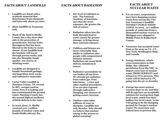 Memphis TN Rad Dump Fact Sheet Sierra Club p. 2