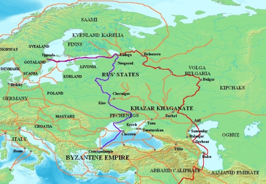 Map showing the major Varangian trade routes, the Volga trade route (in red) and the Trade Route from the Varangians to the Greeks (in purple). Other trade routes of the 8th-11th centuries shown in orange.  Map by Electionworld, CC-By-SA, via Wikimedia