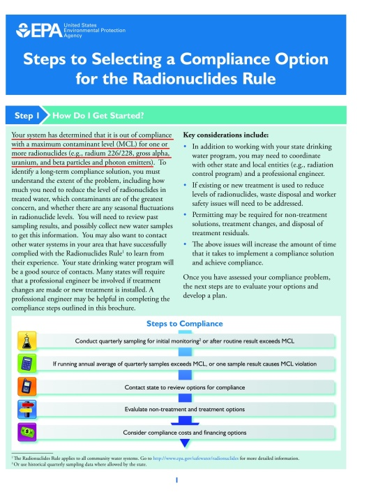 EPA Steps to Selecting a Compliance Option for the Radionuclides Rule
