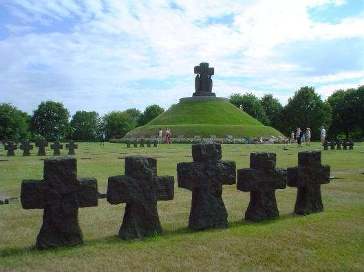 The German military cemetery in La Cambe, Normandy.  The cemetery is the resting place for about 20000 German soldiers public domain via wikimedia