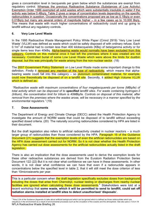 NFLA Radioactive Waste Briefing 26, p. 4