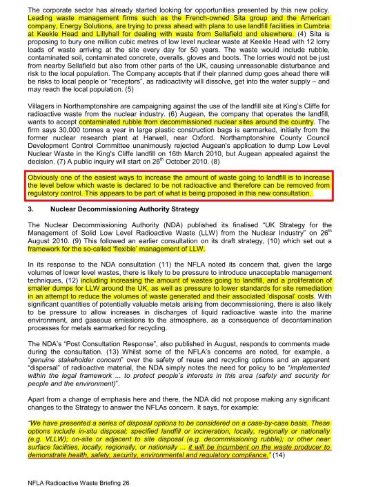 NFLA Radioactive Waste Briefing 26, p. 2