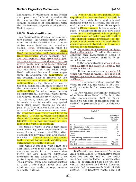 10 CFR Ch. I (1–1–11 Edition) § 61.26 , p. 123