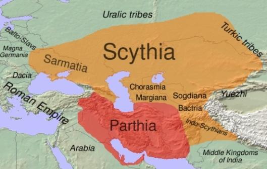 Scythia, Sarmatia, Bactria and the Parthian Empire in ca.100-50 BC By Dbachmann, CC-BY-SA-3.0.