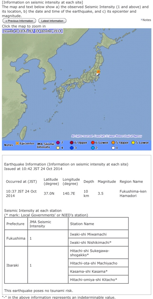 Japan Meteorological Agency website Fukushima mini-quake