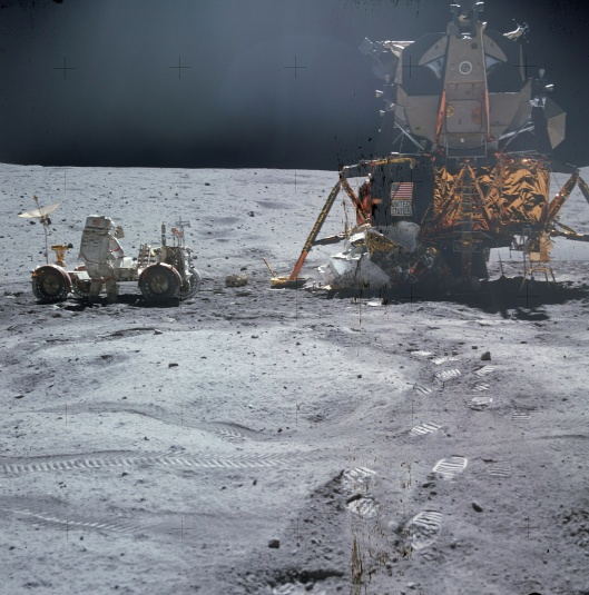 Man with lunar rover