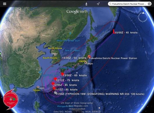 VongFong Typhoon to Fukushima  11 Oct 2014