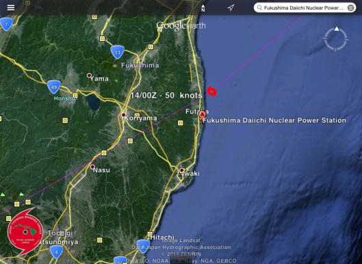 VongFong Typhoon to Fukushima  11 Oct 2014 zoom in