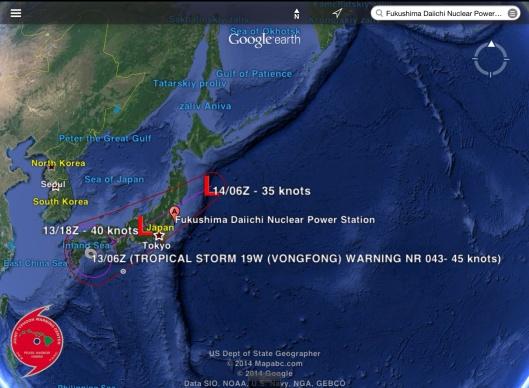 Japan typhoon Fukushima 13 Oct.