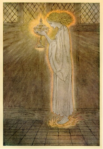 How at the Castle of Corbin a Maiden Bare in the Sangreal and Foretold the Achievements of Galahad: illustration by Arthur Rackham, 1917