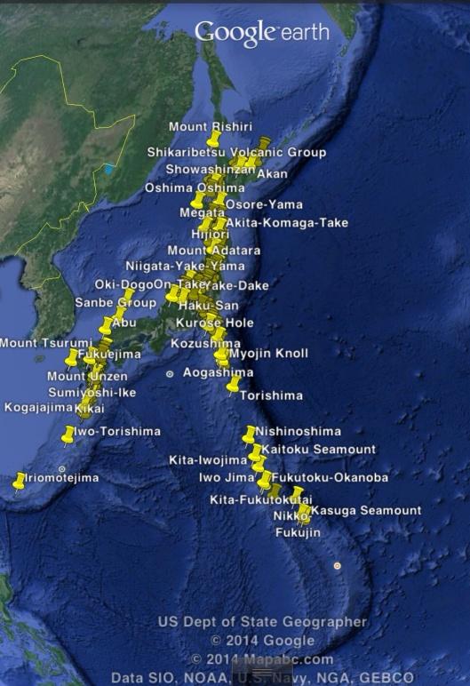 108 Japanese Volcanos via wiki