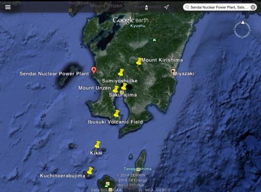 Volcanos near Sendai NGS