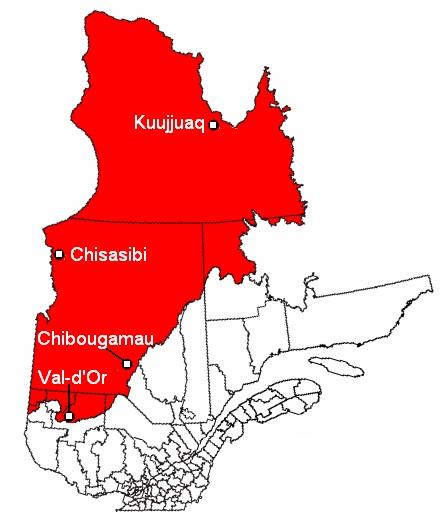 Carte du Nord du Québec (territoire visé par la Convention de la Baie-James et du Nord québécois de 1975) Public Domain via Wiki