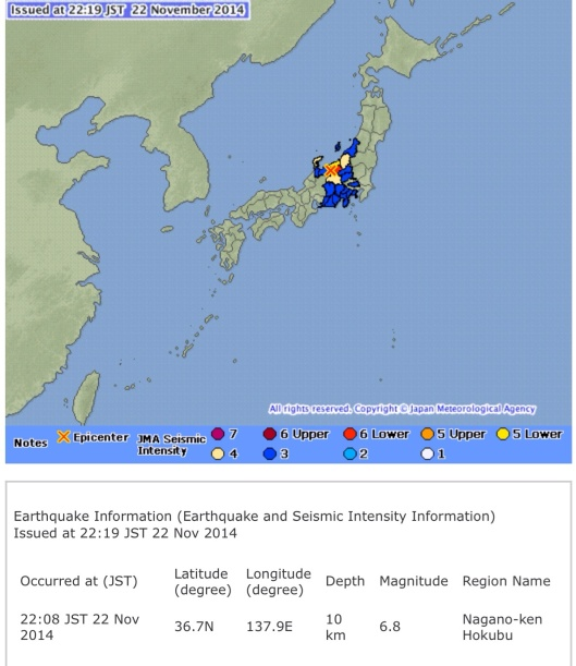 6.8 Quake 22 Nov. 2014 Source: Japan Meteorological Agency website