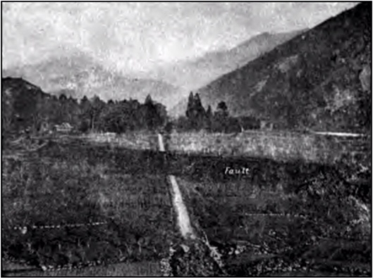 Fig. 47.—The Fault-scarp at Midori. (Koto), in DAVISON (1905)