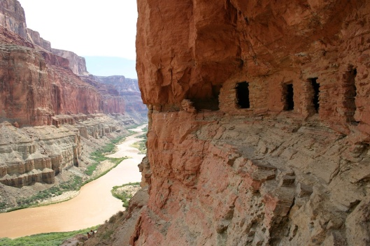 D_3516 PREHISTORIC GRANARIES ABOVE NANKOWEAP IN MARBLE CANYON, GRAND CANYON NATIONAL PARK. MARK LELLOUCH, NPS