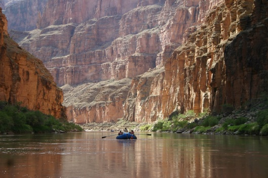 Boating down the Colorado River Below Havasu Creek in Grand Canyon National Park, by Mark Lellouch NPS