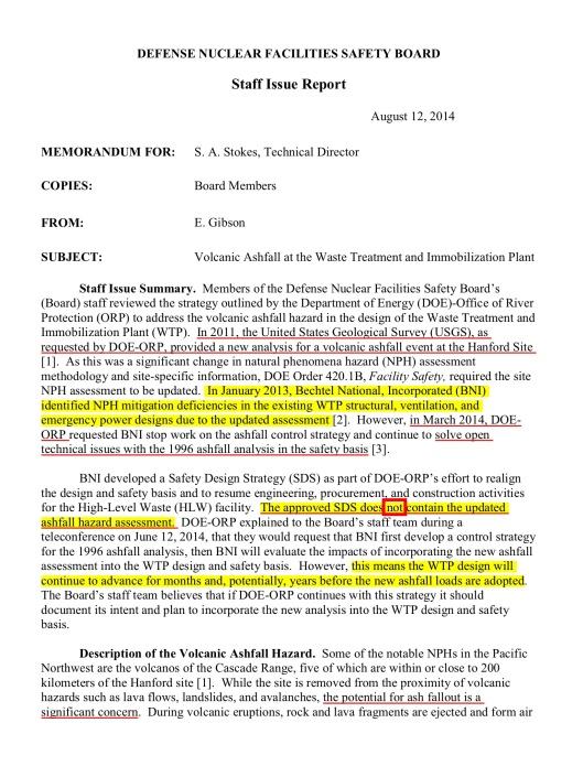 Defense Nuclear Facilities Safety Board Hanford Vitrification Volcano Risk, p. 2