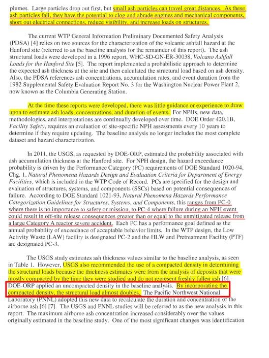 Defense Nuclear Facilities Safety Board Hanford Vitrification Volcano Risk, p. 3