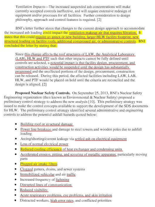 Defense Nuclear Facilities Safety Board Hanford Vitrification Volcano Risk, p. 5