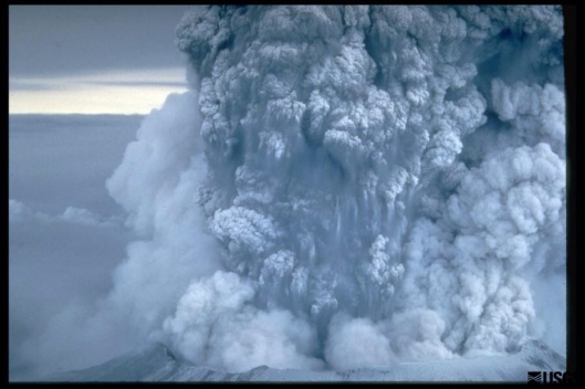 Ash plume (close up) from May 18, 1980 Mount St. Helens. Plume moved eastward at an average speed of 60 mi per hour (95 km/hour), with ash reaching Idaho by noon
