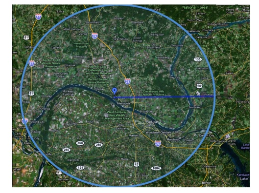 Honeywell Metropolis 25 miles evac zone via USW