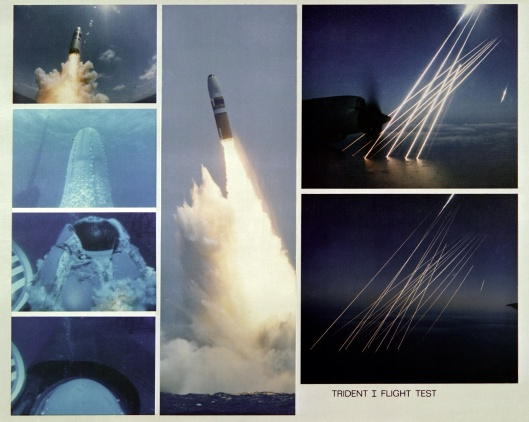 ID: DNSC8200005 Service Depicted: Navy A montage of seven views showing parts of the launching of a Trident I C-4 missile from the submerged nuclear-powered strategic missile submarine USS FRANCIS SCOTT KEY (SSBN-657) and the Trident's re-entry bodies as they plunge into the earth's atmosphere and then into the Atlantic Ocean.  Date Shot: 2 Oct 1981.