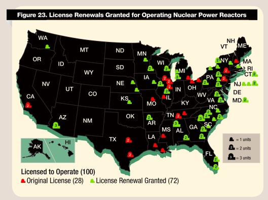 Nuclear Reactor Map by NRC 2014 Relicensing