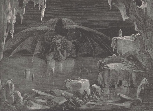 engraving by Gustave Doré illustrating Canto XXXIV of Divine Comedy, Inferno, by Dante Alighieri. Caption: Lucifer, King of Hell, 1861–1868