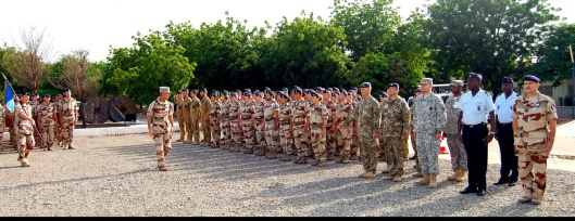 French and Chad military participate in a flag ceremony to commemorate the launch of Operation Barkhane in Africa's Sahel region beginning in July 2014 3,000-strong French force The operation has been designed with five countries, and former French colonies, that span the Sahel: Burkina Faso, Chad, Mali, Mauritania and Niger. (U.S. Army Africa photos by Chief Warrant Officer 3 Martin S. Bonner)