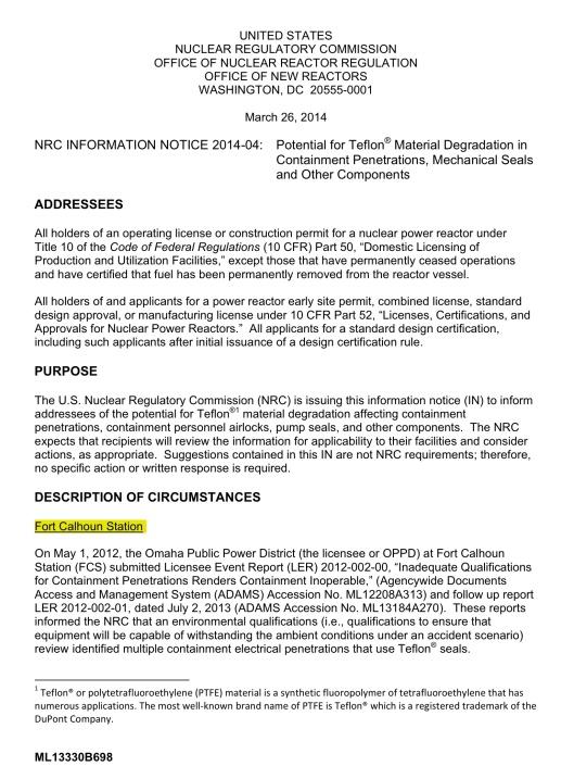 NRC Teflon Safety 26 March 2014