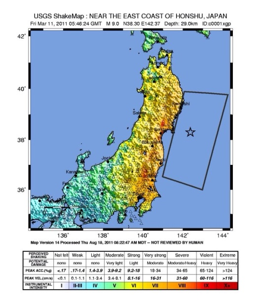 2011 Japan earthquake shake map