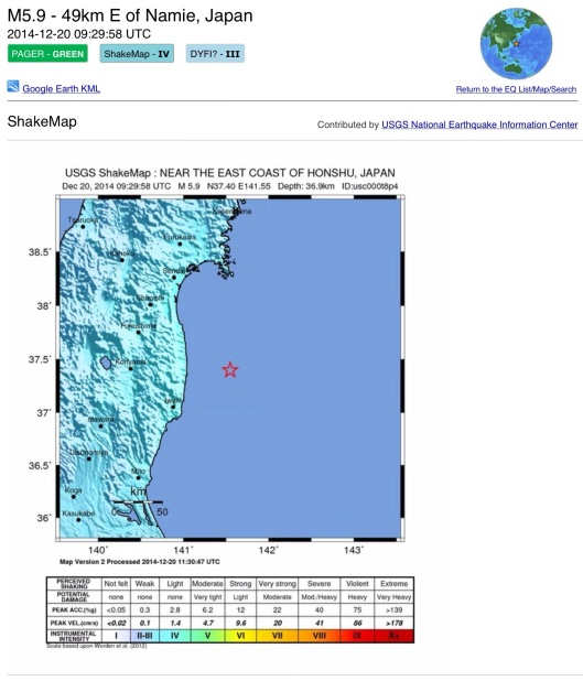 Dec. 20, 2014 Japan Quake Map Shake, 5.9 offshore Fukushima