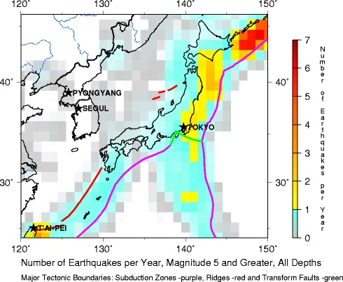 Japan earthquake frequency USGS greater than 5