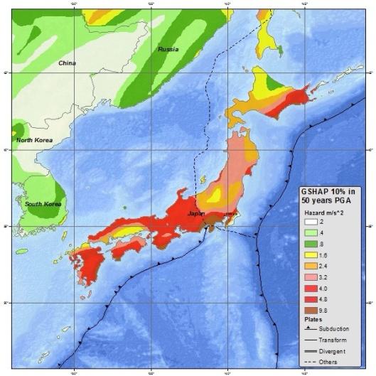 Japan Earthquake ground acceleration