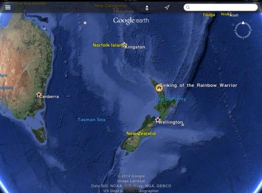 Sinking of Rainbow Warrior map coordinates from Wikipedia