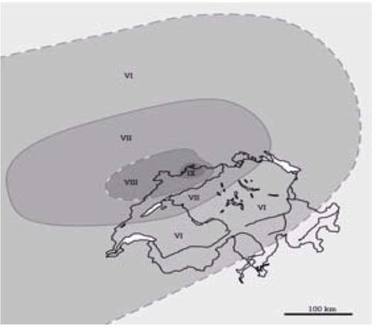 "Basel 1356 intensity ""Seismic Hazard Assessment of Switzerland, 2004"", November 2004  Swiss Seismological Service"