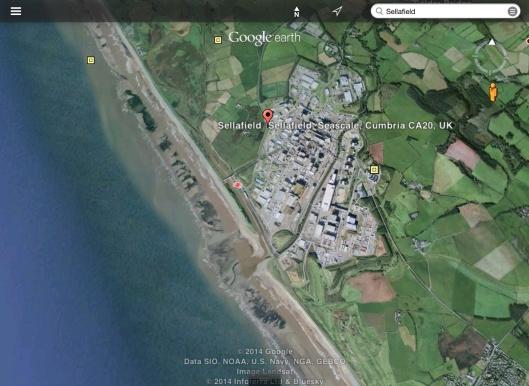 Sellafield on Irish Sea Birds Eye View