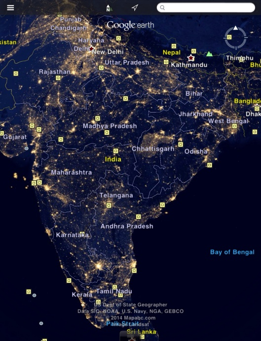 India lights at night