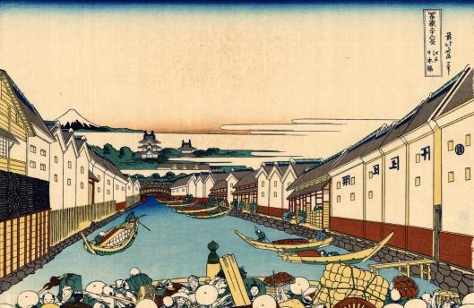 Nihonbashi bridge in Edo, by Katsushika Hokusai (葛飾北斎) (1760–1849)
